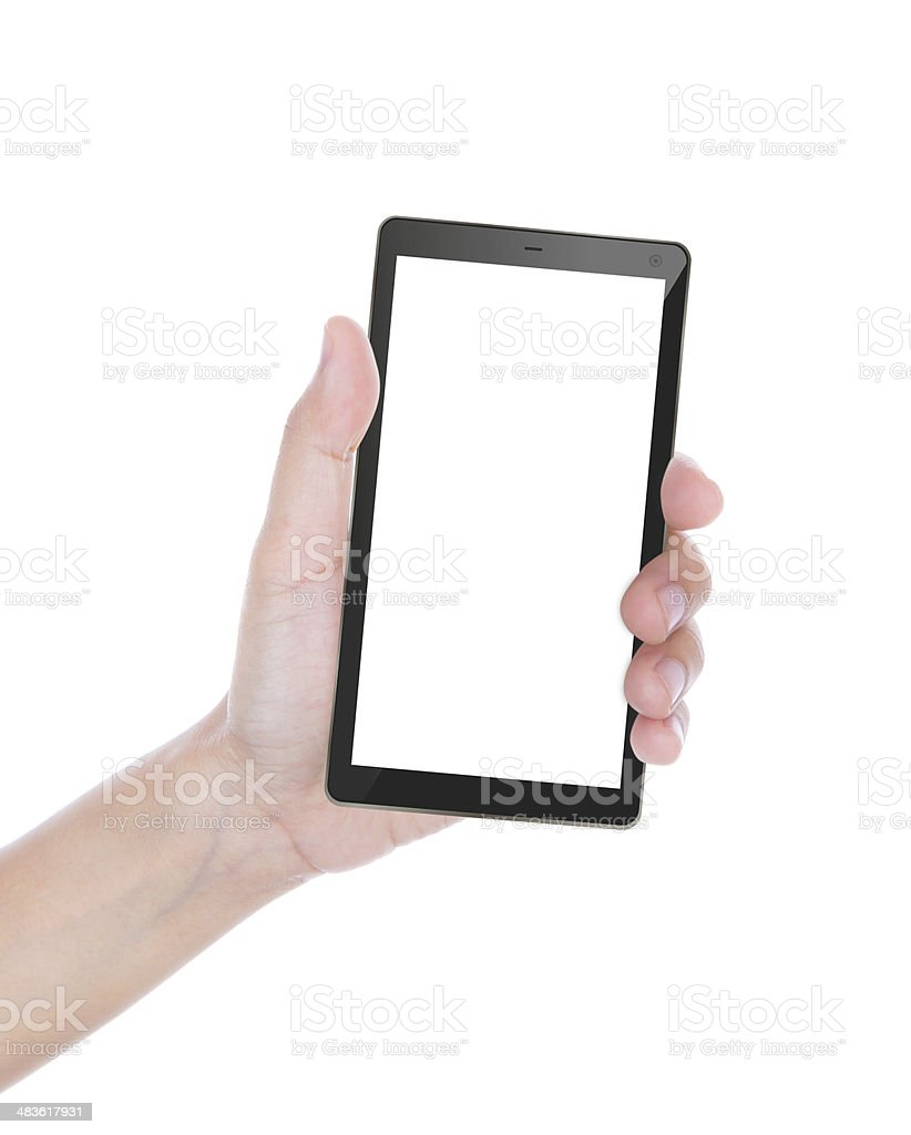 Hand of women to hold card, mobile phone stock photo