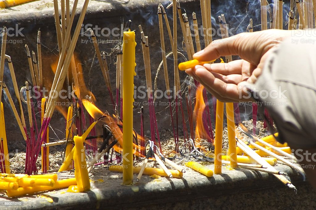 hand offering incence royalty-free stock photo