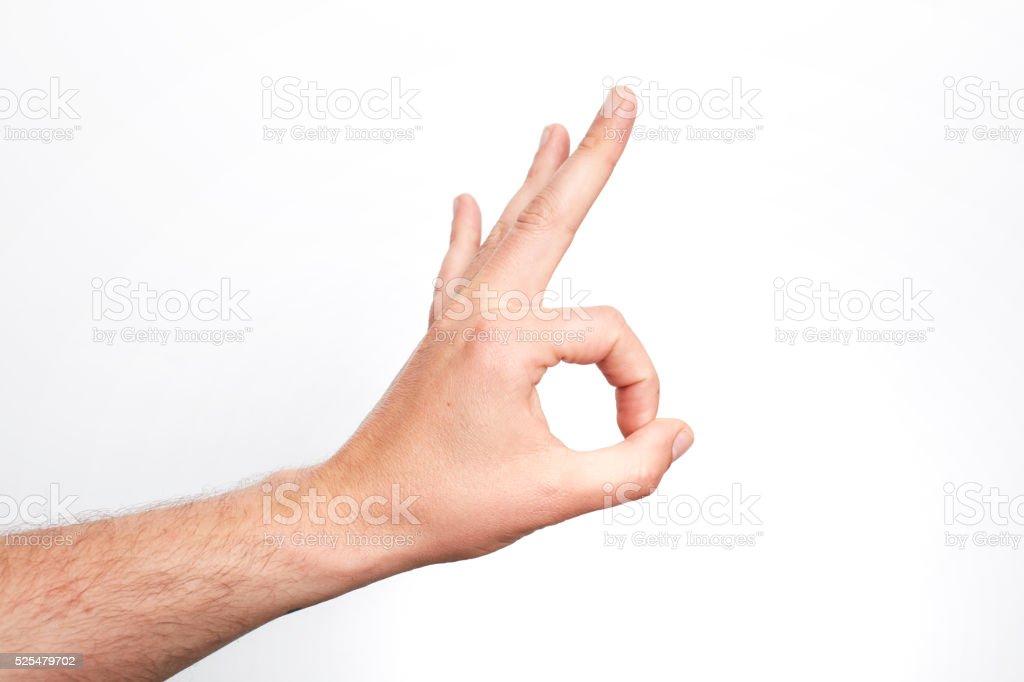 Hand OK sign isolated on white stock photo