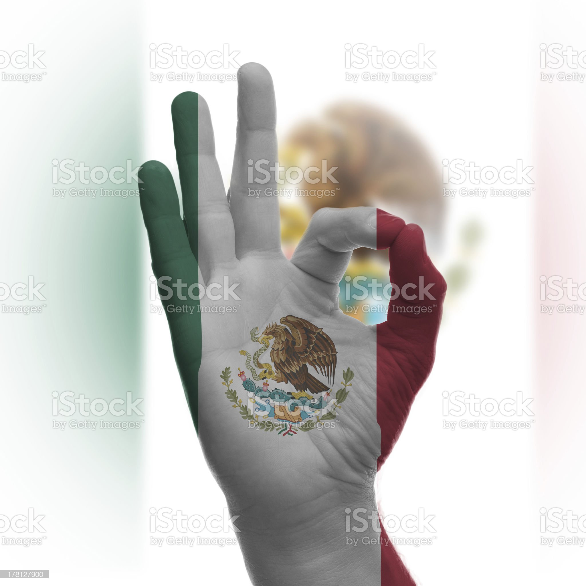 Hand OK sign with Mexican flag royalty-free stock photo