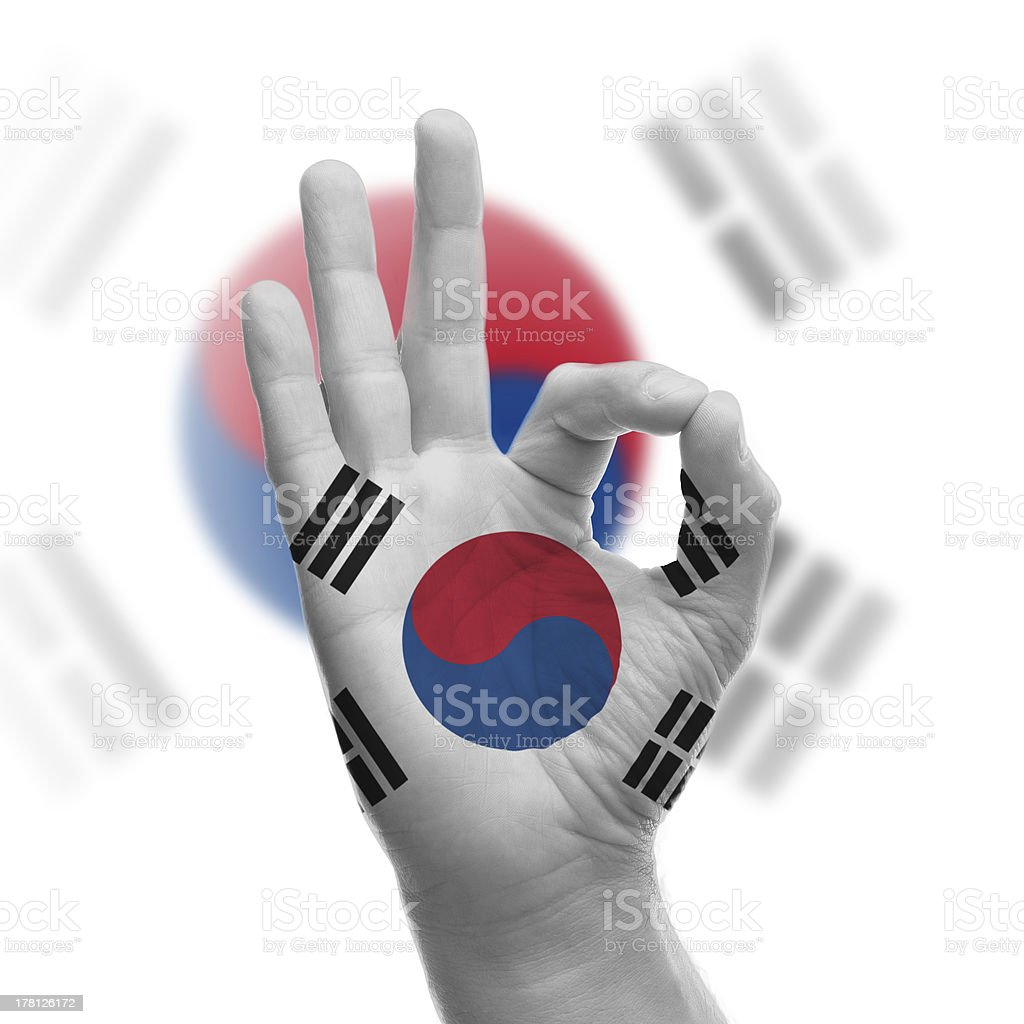 Hand OK sign with South Korean flag royalty-free stock photo