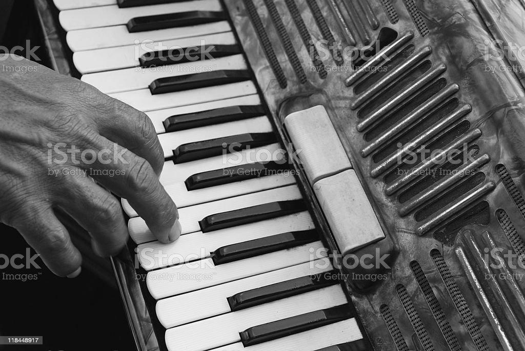 Hand on Accordion royalty-free stock photo