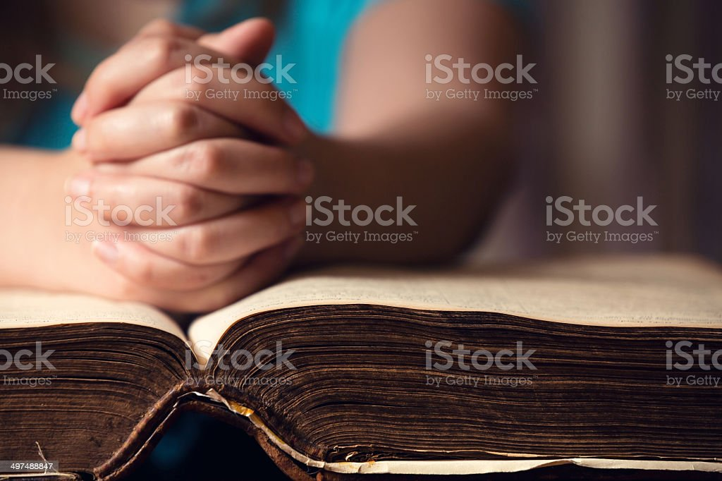 Hand On Bible stock photo