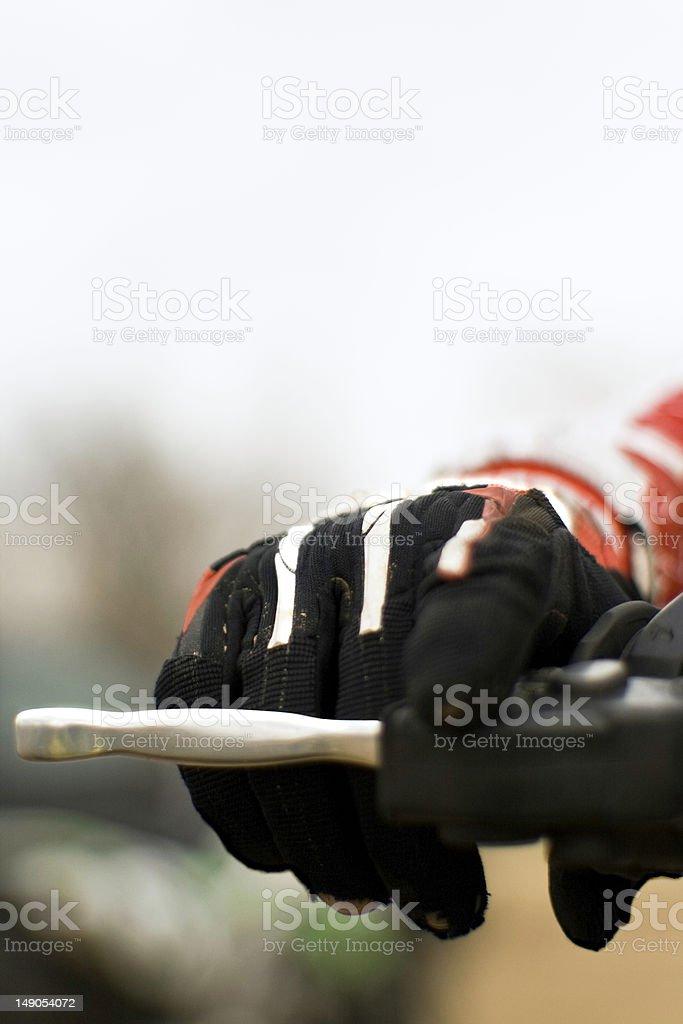 Hand on brake royalty-free stock photo