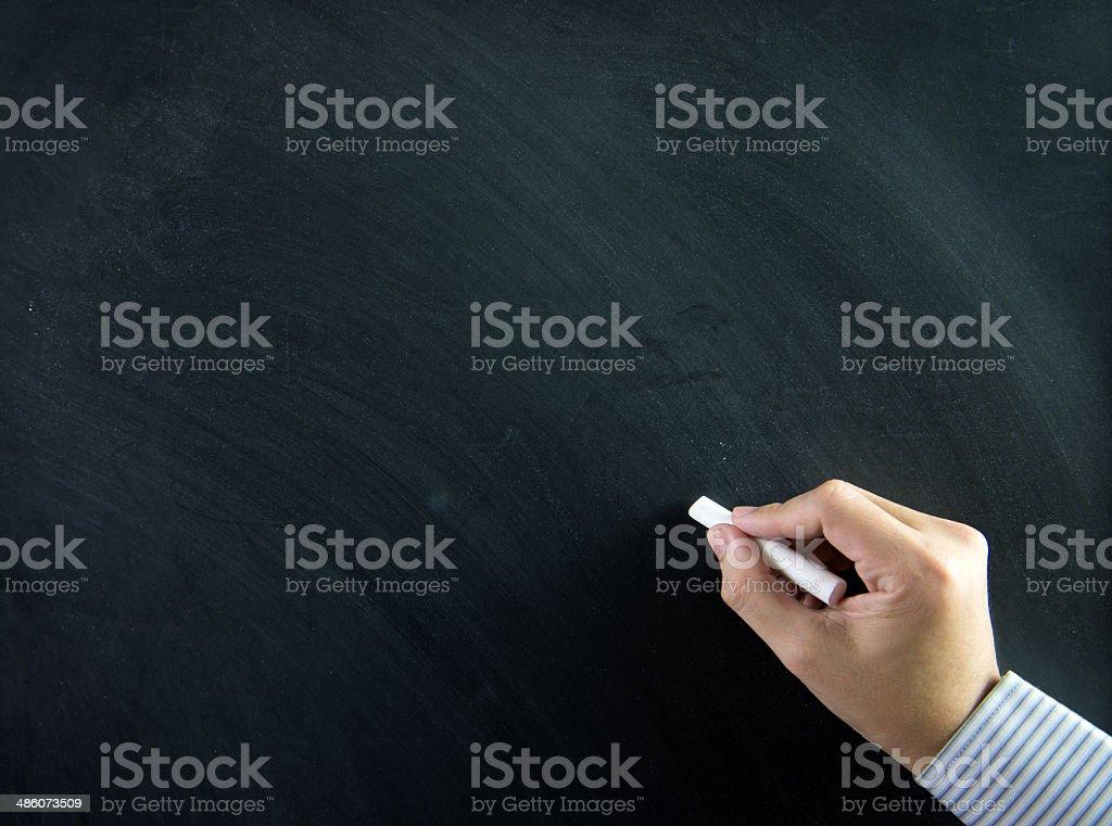 Hand on chalkboard stock photo