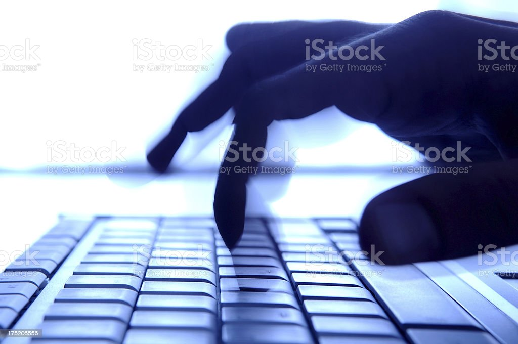 hand on computer royalty-free stock photo