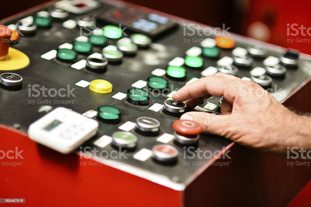 Hand On Controls royalty-free stock photo