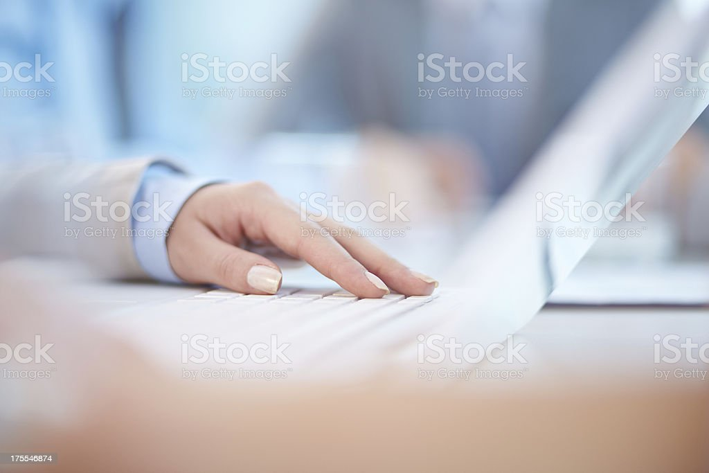Hand on keyboard royalty-free stock photo