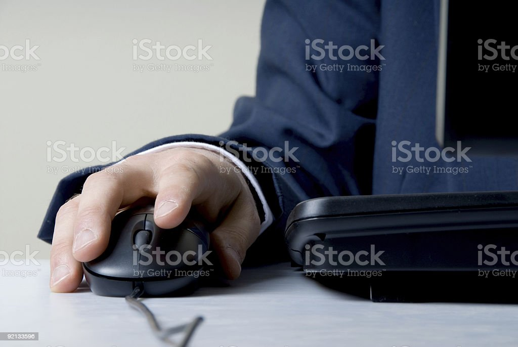 Hand on mouse royalty-free stock photo