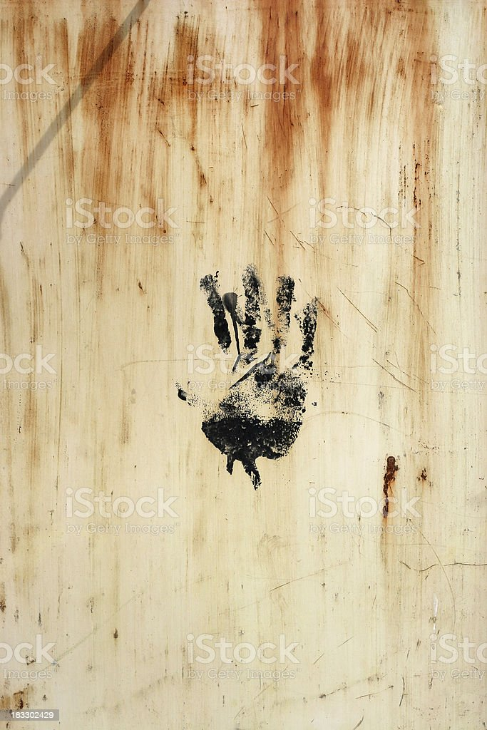 hand on rust royalty-free stock photo