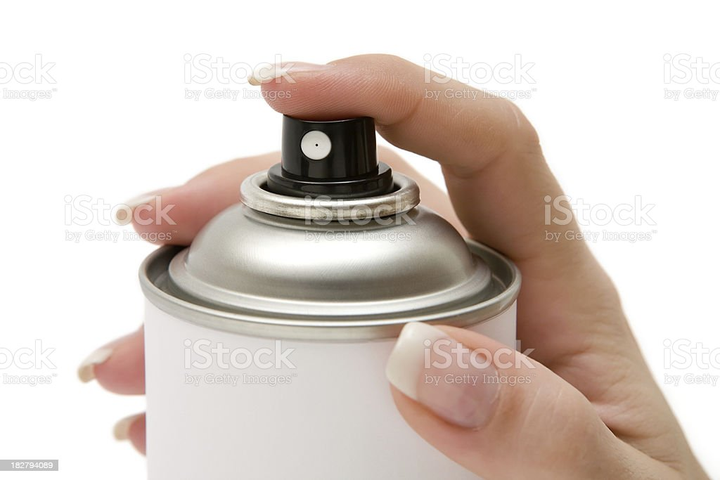 Hand on Spray Paint Can royalty-free stock photo