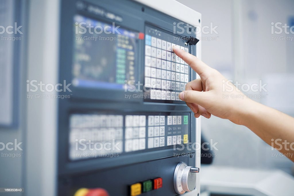 Hand on the touch screen stock photo