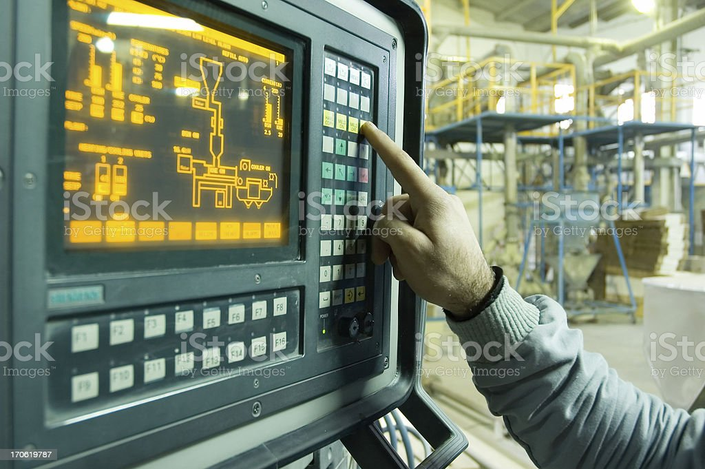 Hand on the touch screen royalty-free stock photo