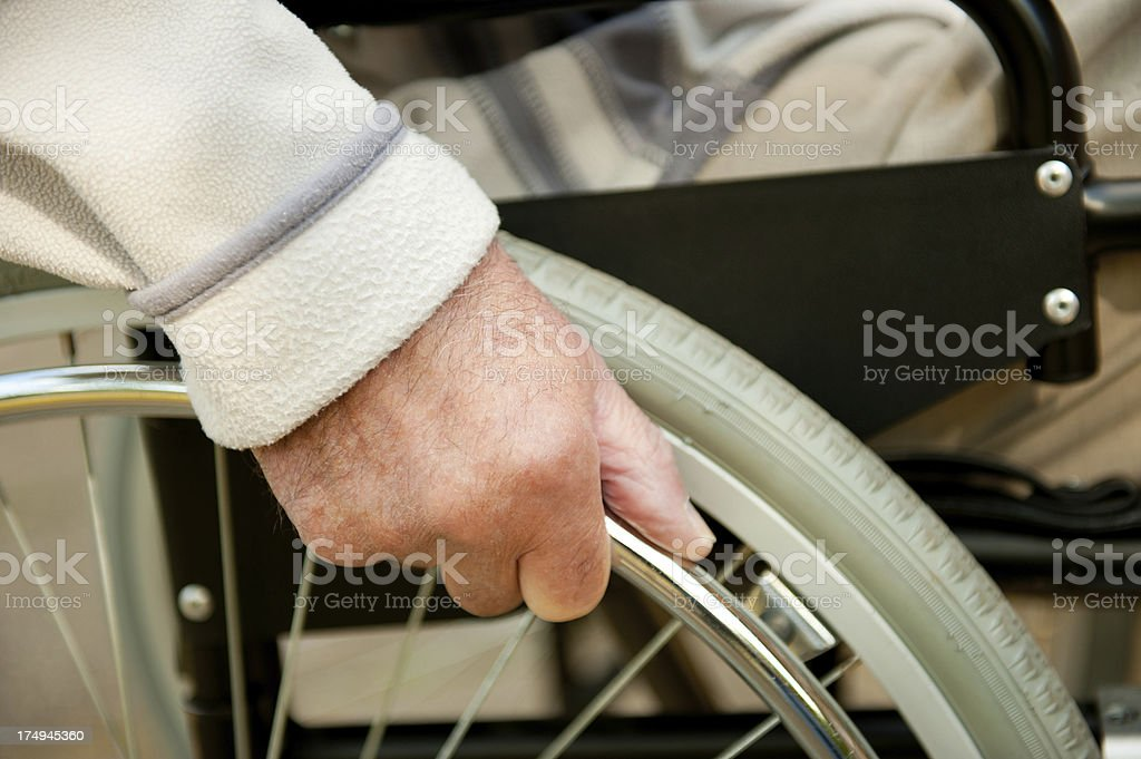 Hand On Wheelchair royalty-free stock photo