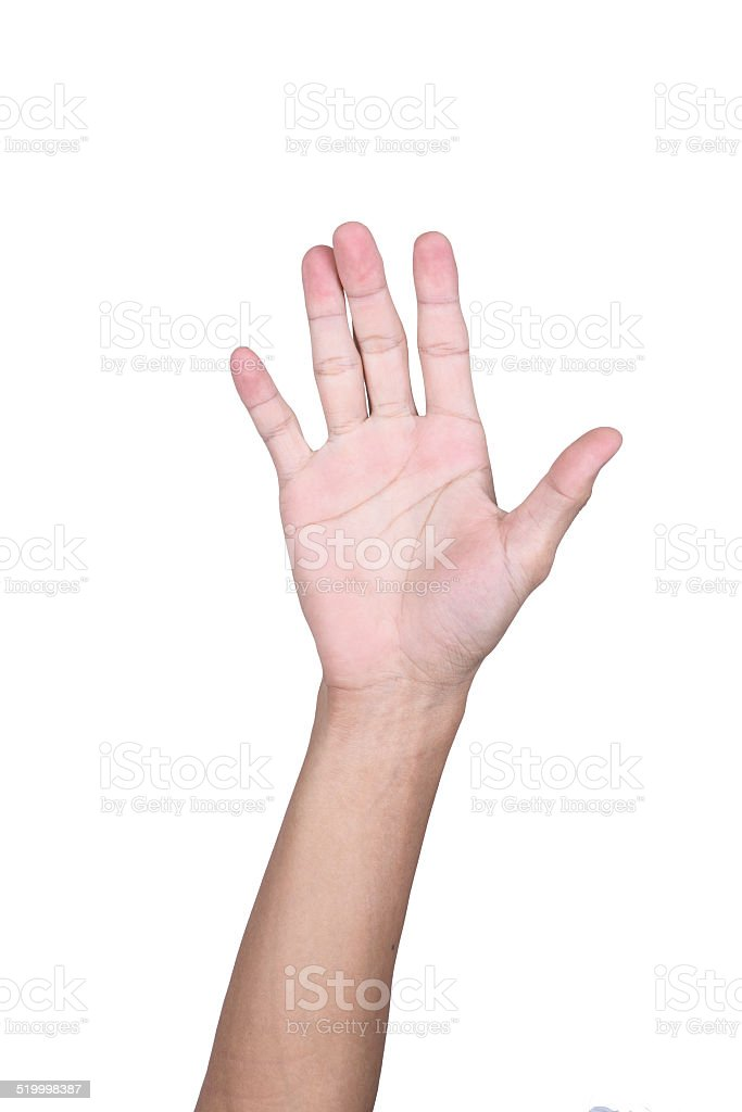 hand on white background stock photo