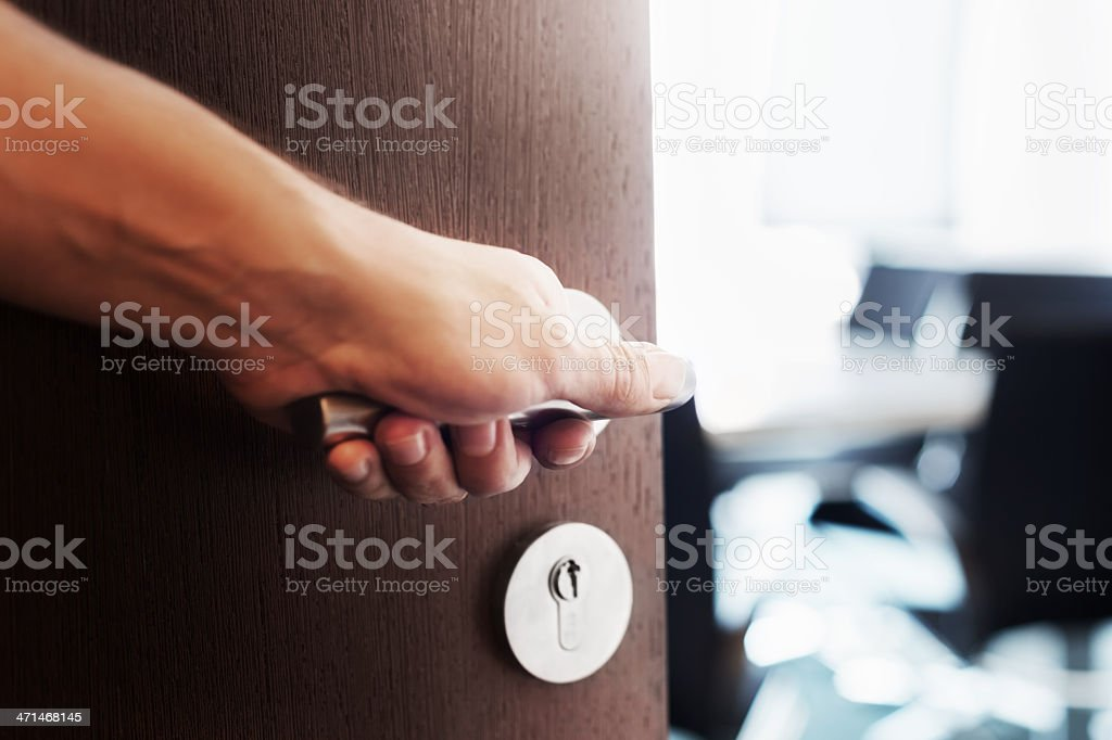 Hand Open Door stock photo