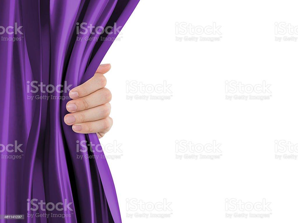 Hand Opening Curtain stock photo