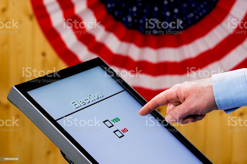 Hand over Electronic Voting machine - Yes or No question stock photo