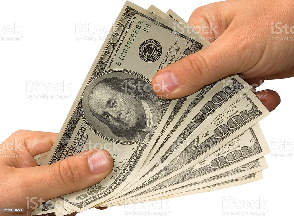Hand over money the other hand stock photo