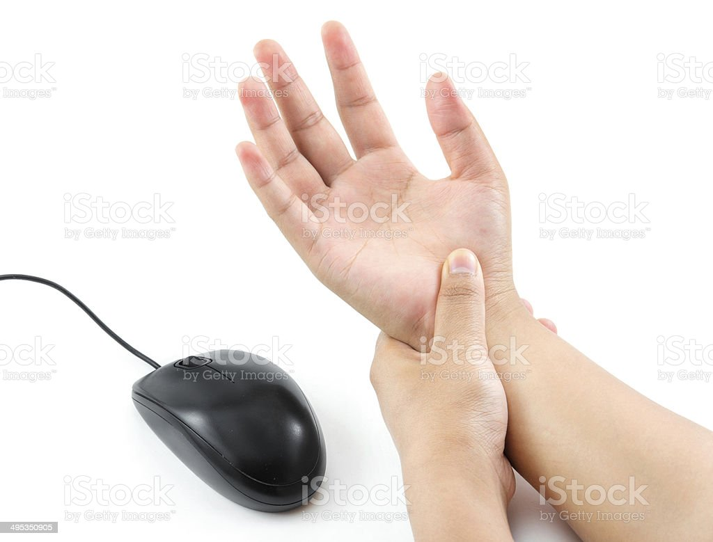 hand pain from mouse stock photo