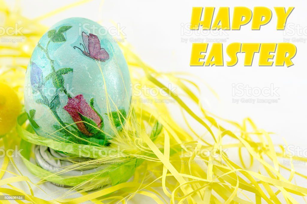 Hand painted and decoupage decorated Easter eggs stock photo