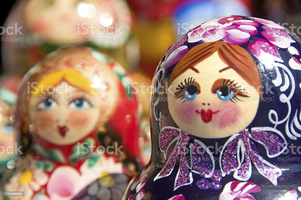 Hand painted Babushka or Matryoshka Russian Nesting dolls stock photo