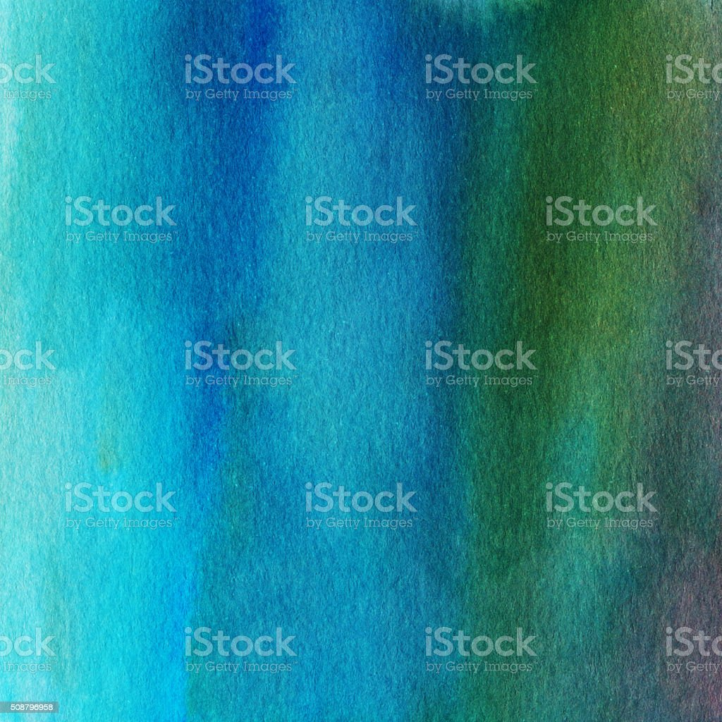 Hand painted background with color gradient of green and blue vector art illustration