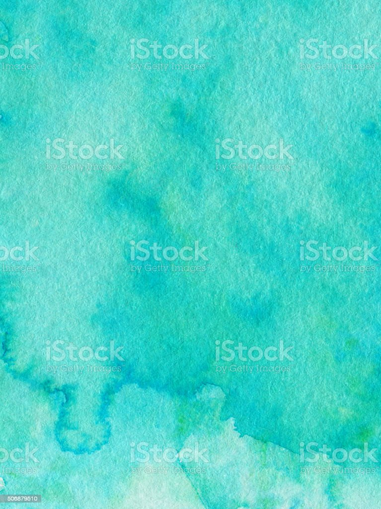 Hand painted background with mottled texture and vivid turquoise color stock photo