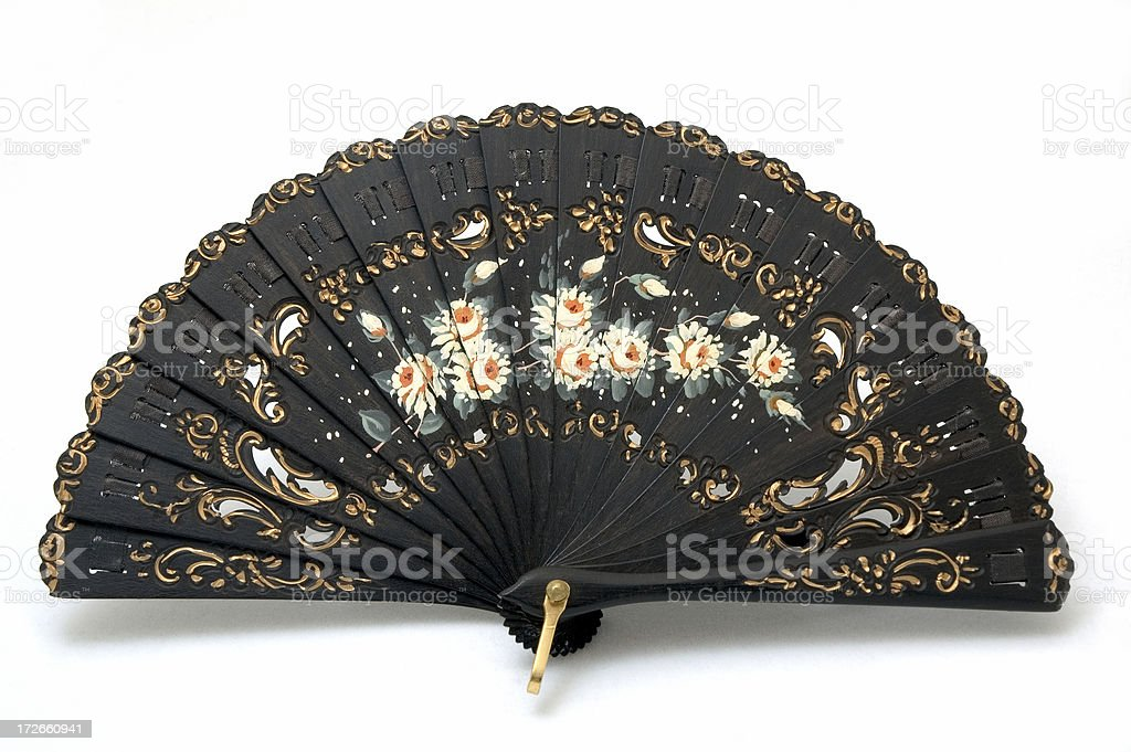 Hand Painted Black Spanish Fan Made of Ebony stock photo