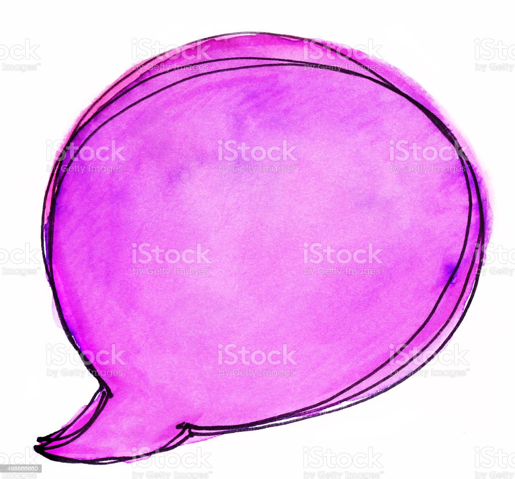 Hand painted bright magenta word or thought bubble stock photo