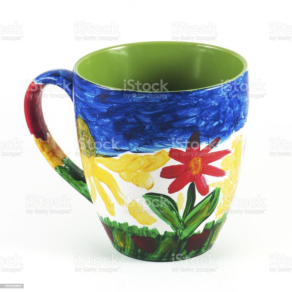 Hand painted ceramic mug stock photo