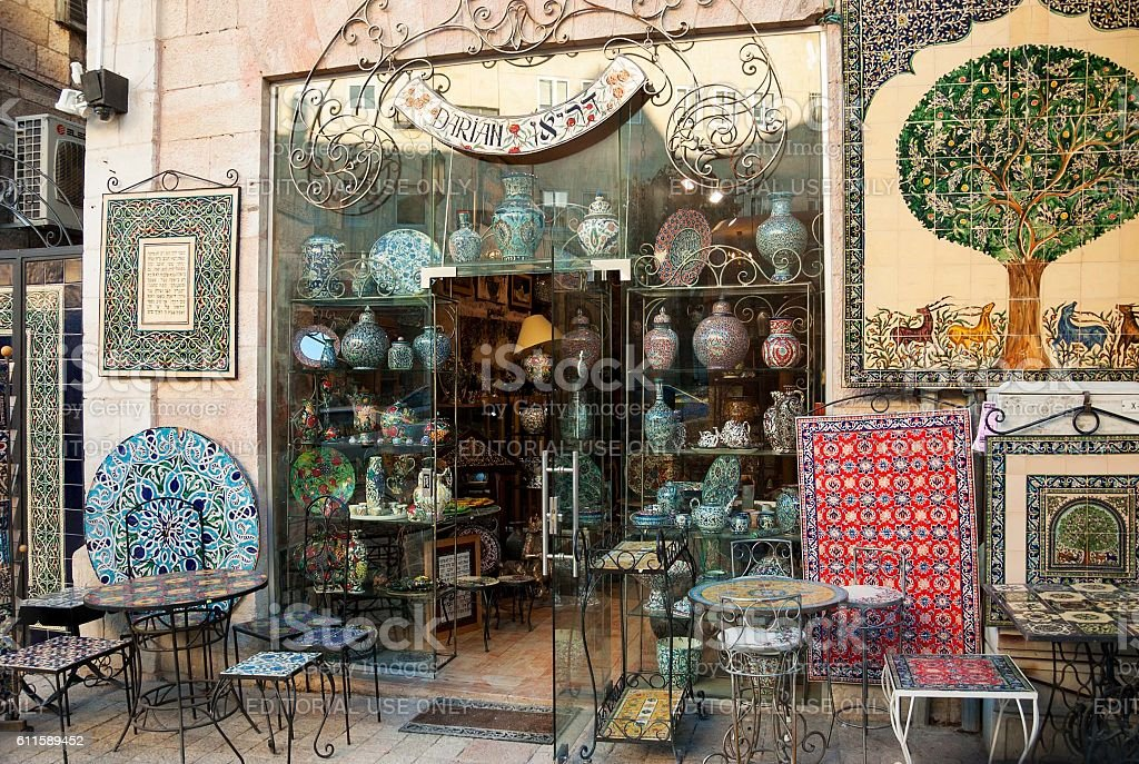 Hand painted ceramics shop of Arman Darian in Jerusalem. stock photo