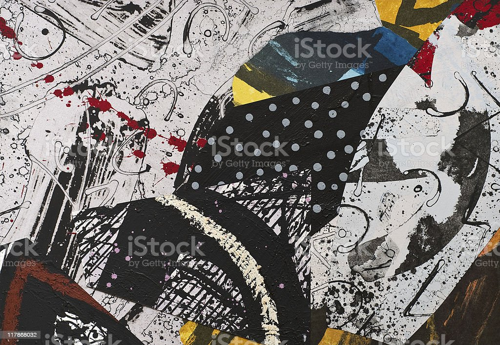Hand painted collage of paper and paint splatters stock photo