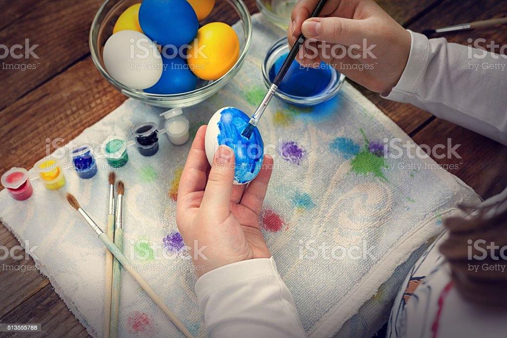 Hand painted decoupage Easter eggs stock photo