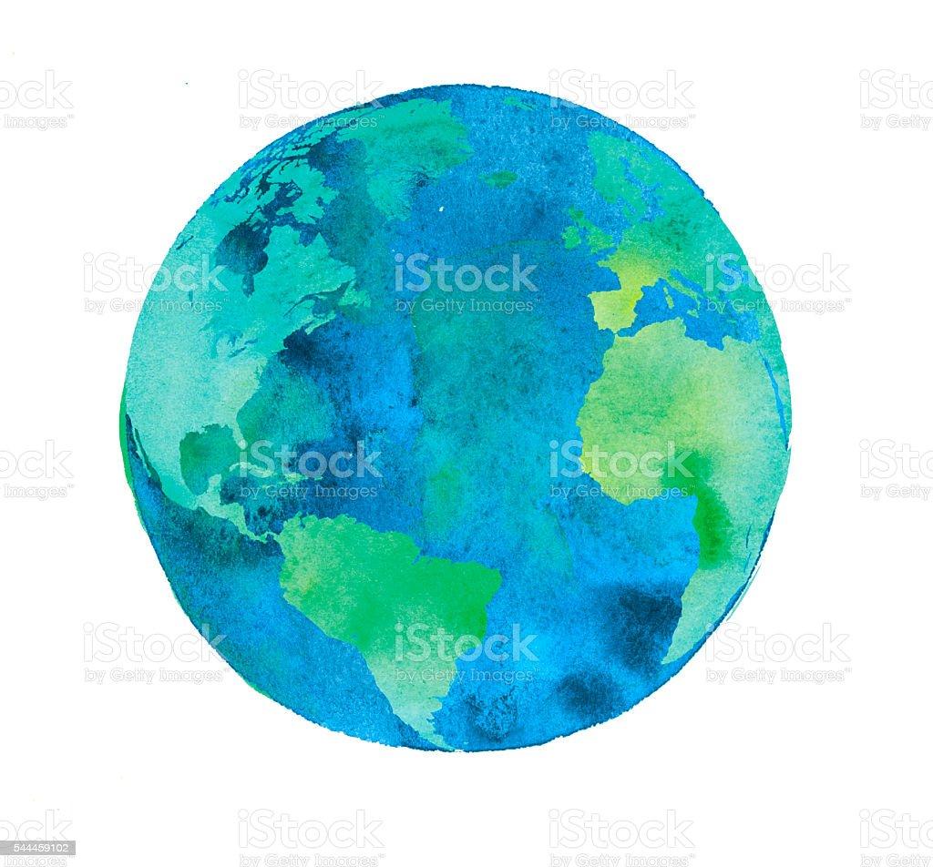 hand painted Earth globe. watercolor artwork stock photo