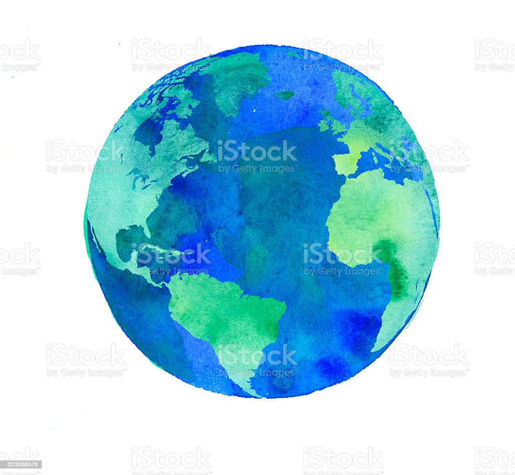 hand painted Earth globe. watercolor artwork stock photo