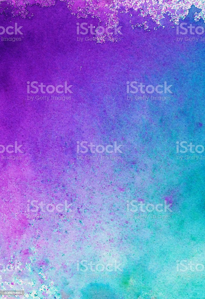 Hand painted gradient of purple pink and turquoise blue stock photo