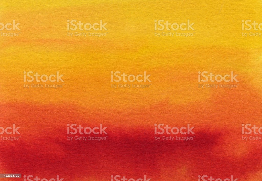 Hand painted gradient of red orange and yellow stock photo