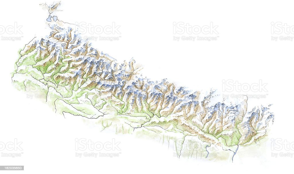 Hand Painted Map - Nepal stock photo