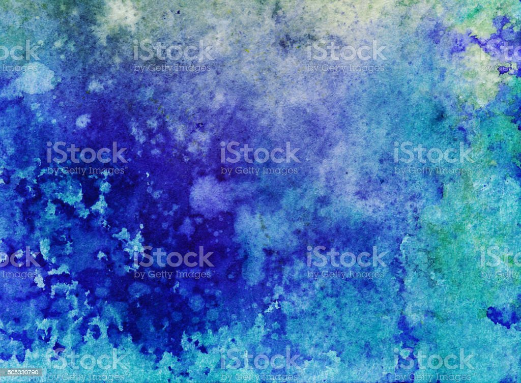 Hand painted mottled texture with shades of blues on paper stock photo