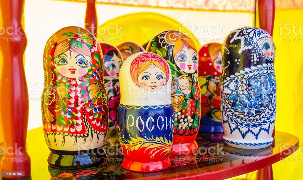 Hand Painted Nesting Dolls stock photo