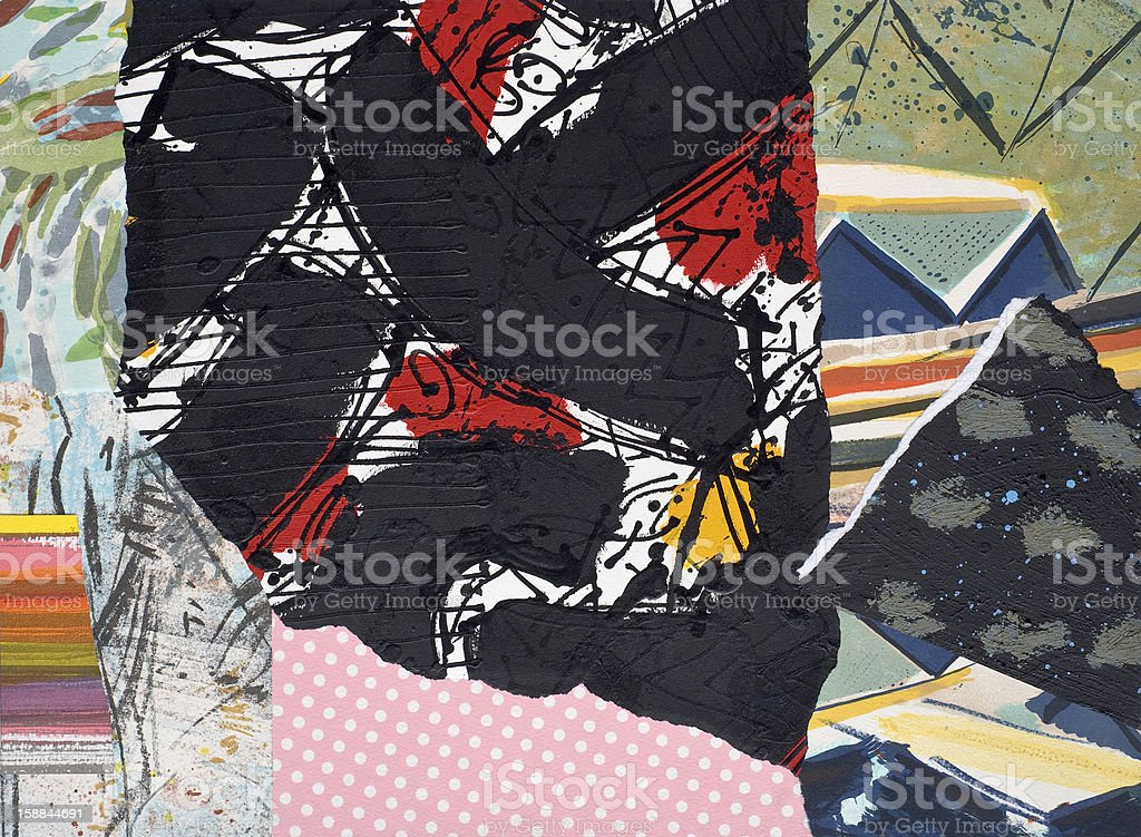 Hand Painted Paper Collage stock photo