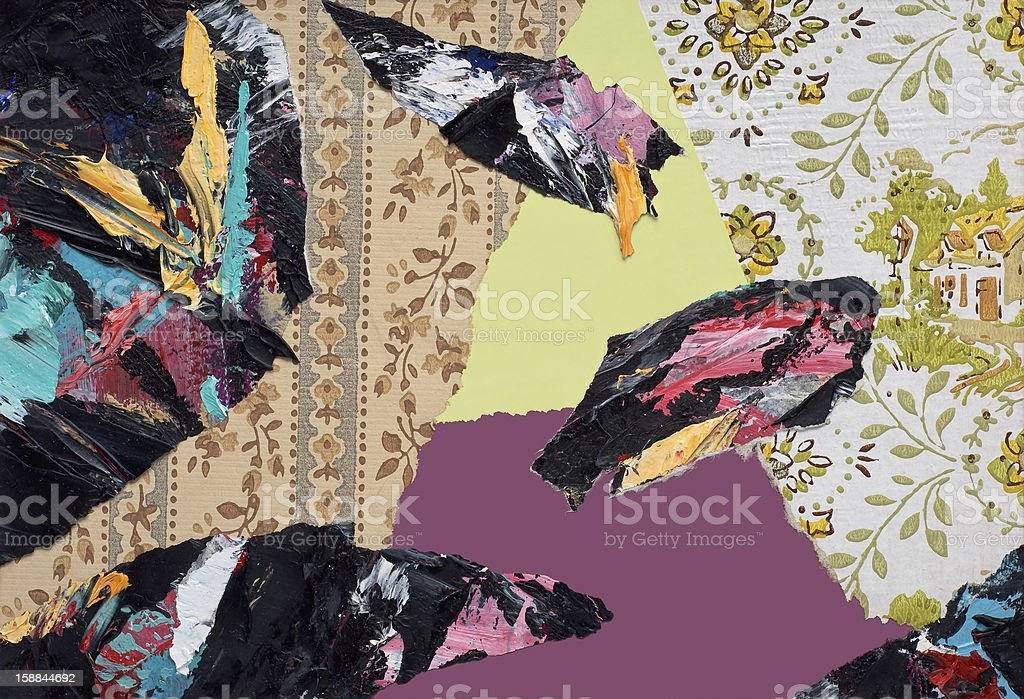 Hand Painted Paper Collage royalty-free stock photo