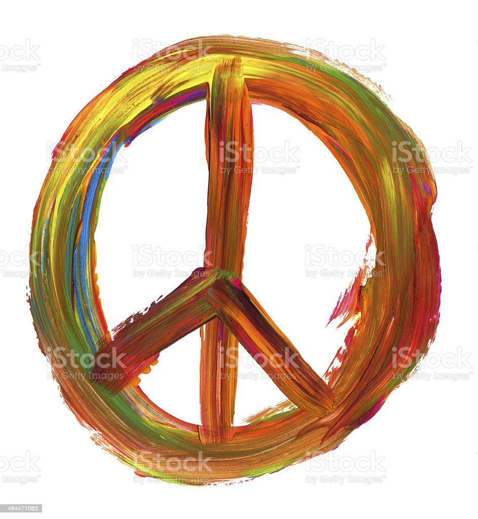 hand painted peace sign stock photo