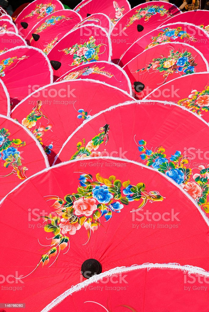 Hand painted pink umbrellas in Thailand royalty-free stock photo