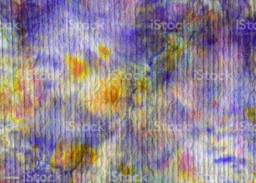 Hand painted purple and yellow mixed colors on fiber stock photo