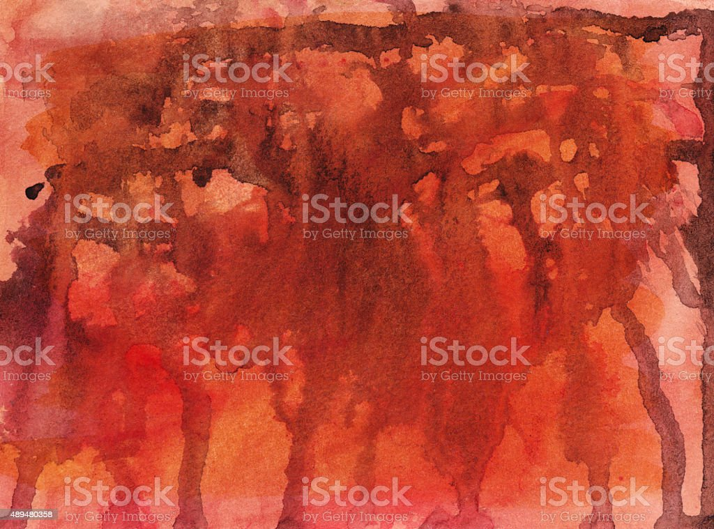 Hand painted red and orange background with paint drips stock photo