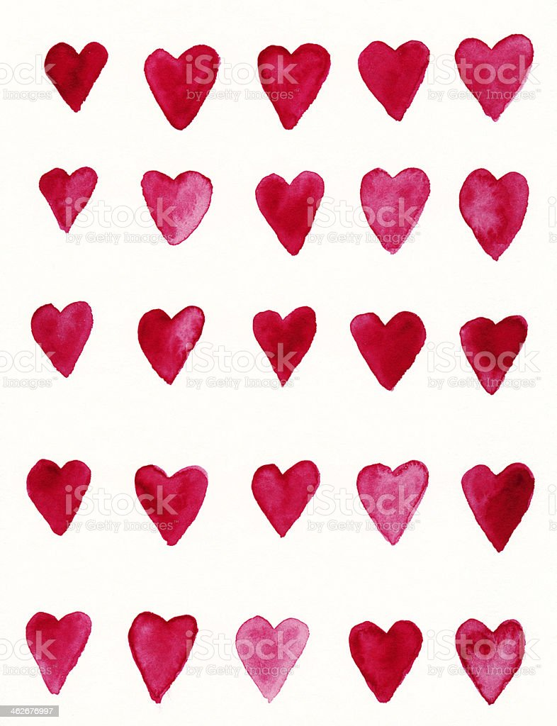 Hand painted red heart pattern on white background royalty-free stock photo