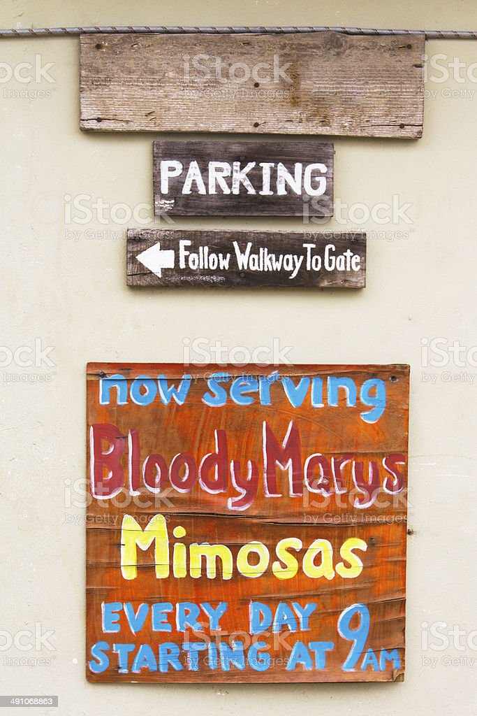 Hand Painted Sign at Mexican Bar for Bloody Marys, Mimosas royalty-free stock photo