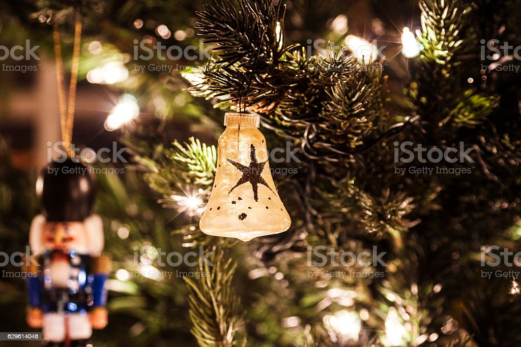Hand Painted Star Pattern Bell Christmas Tree Ornament stock photo